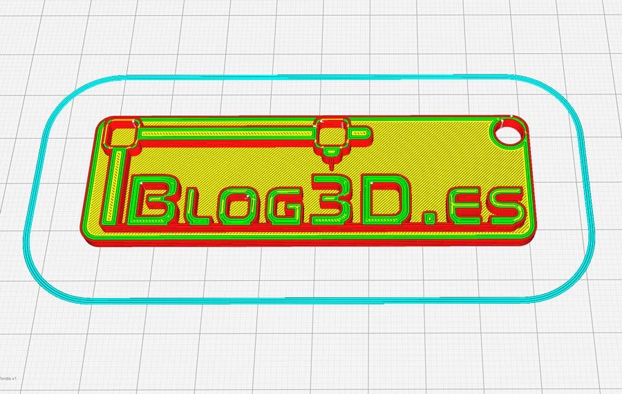 Diseño para impresión en dos colores cargado en Cura